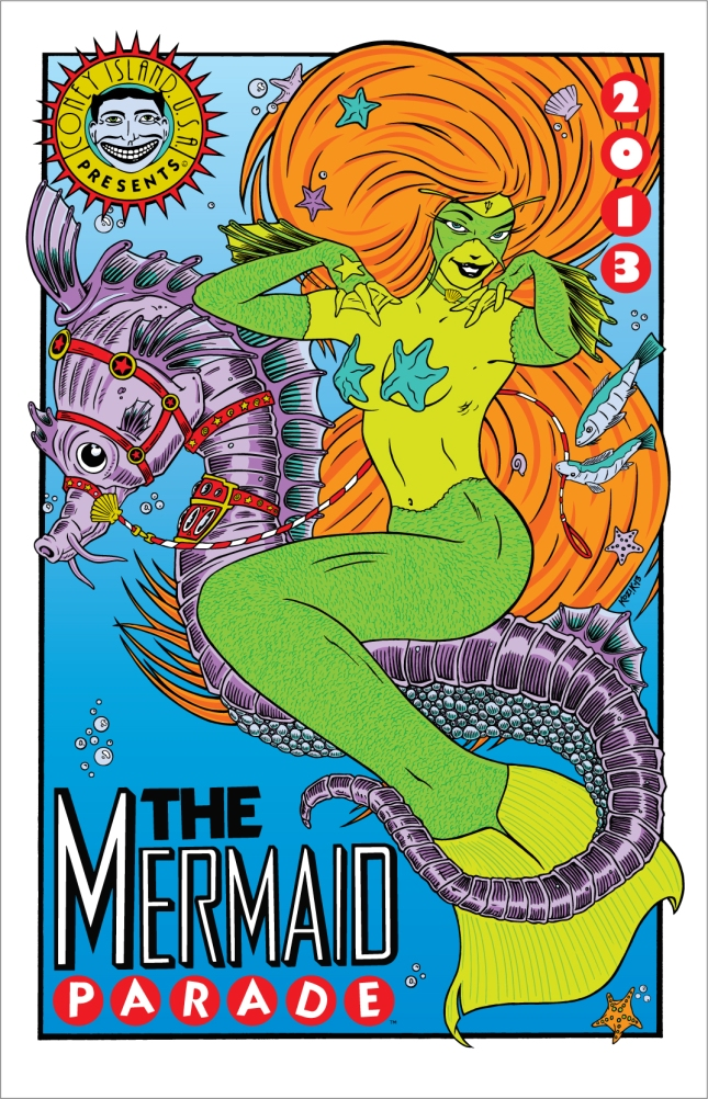 2013 Mermaid Parade Poster by Frank Kozik