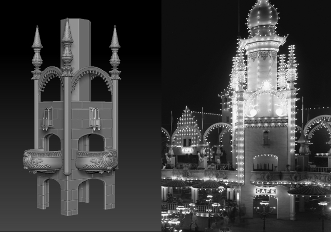 Progress on 3D modeling Luna Park