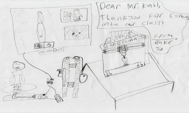 Drawn by a 5th grade student at Speyer Legacy School after my recent demonstration there