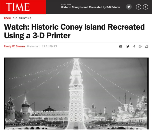 Time Magazine on Thompson & Dundy's Luna Park: 3D Printed by the  Great Fredini