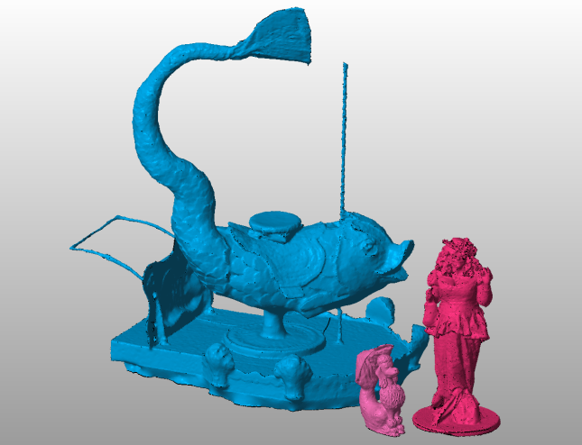 "Kate ""The Pink Poodle Lady"", Fifi the Mermaid poodle and Phinn the fish, 3D Scanned at the 2014 Mermaid Parade"