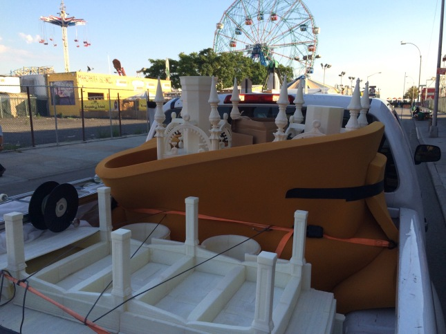 Starting Thursday, I began moving the 3D printed Luna Park out of the Coney Island Museum
