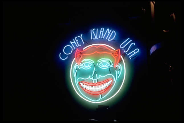 Neon Funny Face sign I designed for Coney Island USA and made with Chris Clark