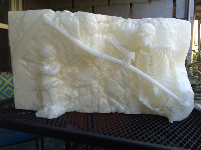 """Grim, 3D printed PLA Plastic, 12""""h, 21""""w, 8""""d"""