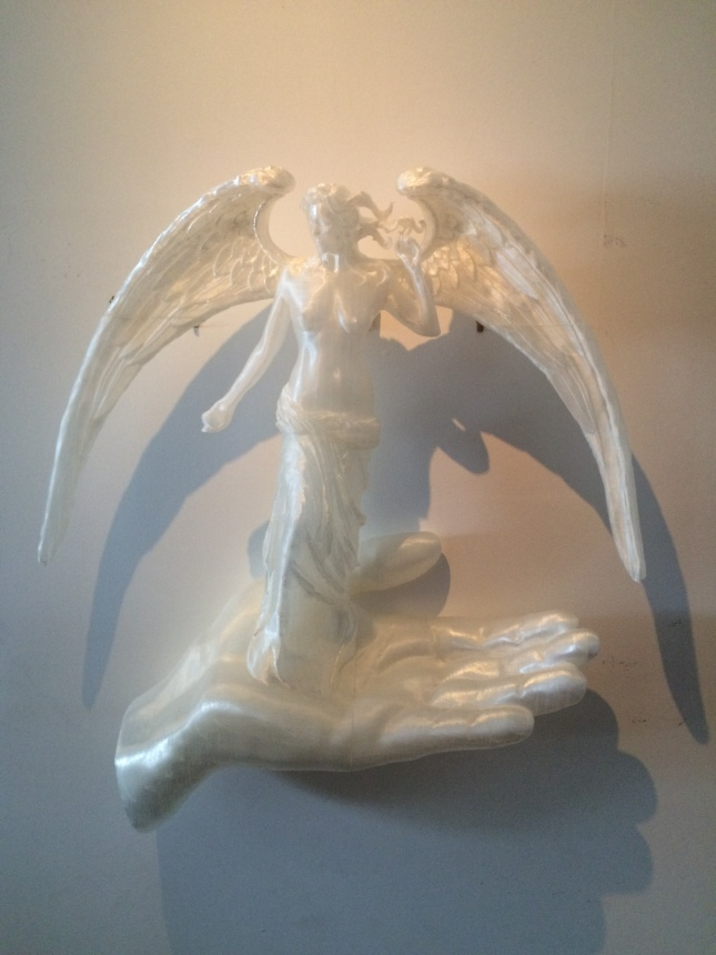 "Creation, 3D printed PLA Plastic, 34""h, 31""w, 8""d"